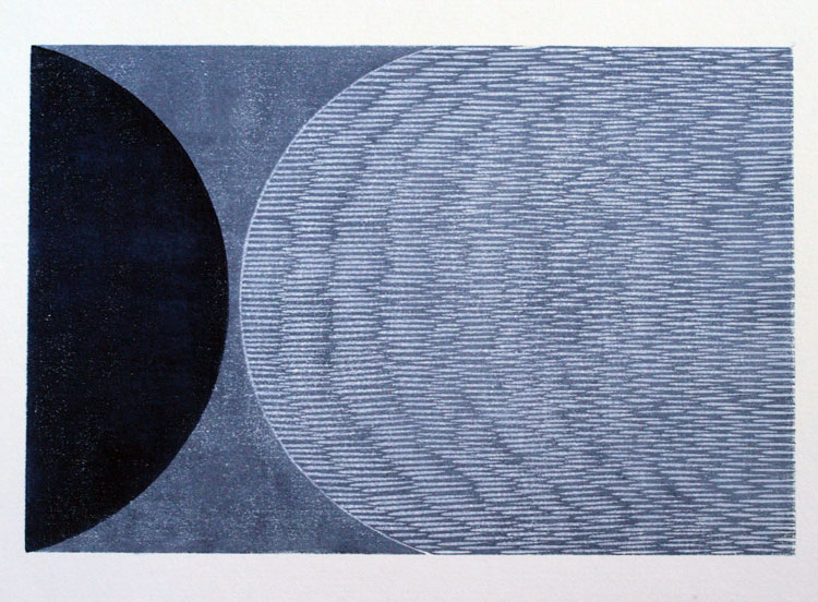 Eclipse III, water-based woodcut, 30cm x 45 cm, edition of 7