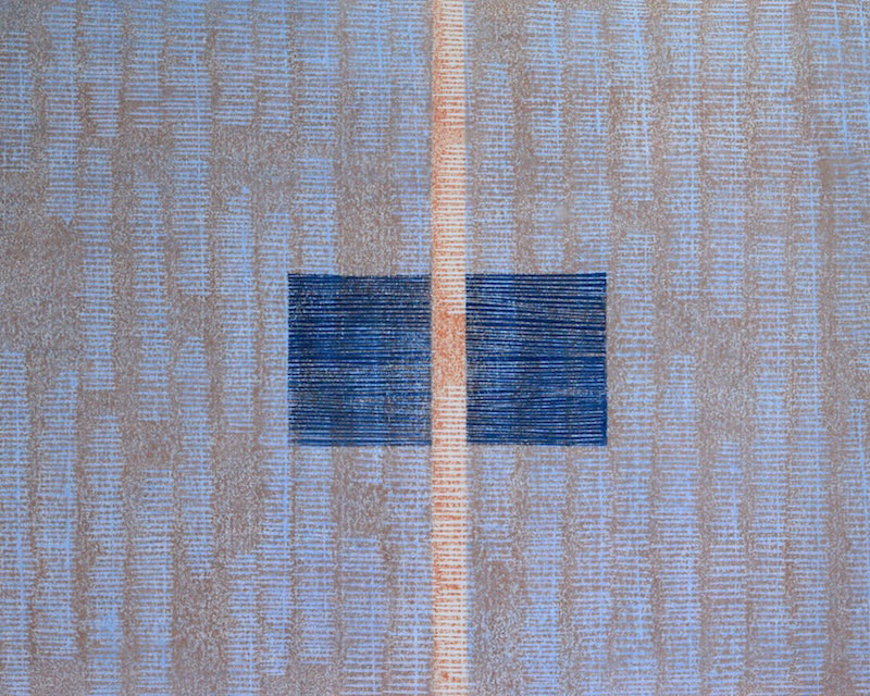 Weave I, watercolour woodcut mounted on wood panel, 45cm x 60cm, edition of 7