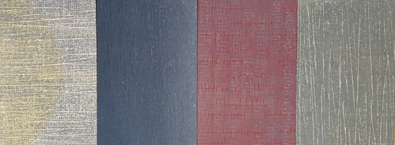 Markings, Japanese water-based woodblock, 30cm x 80cm mounted on 4 wood panels, Unique